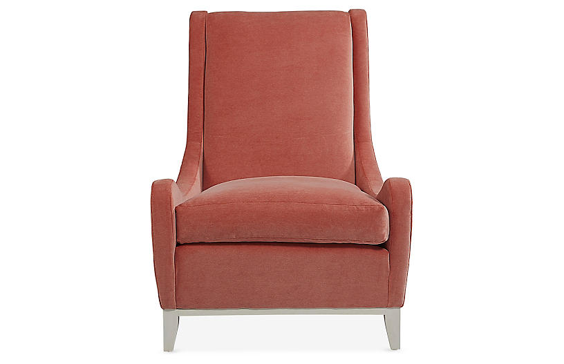 Pierre Armless Accent Chair, Coral Velvet