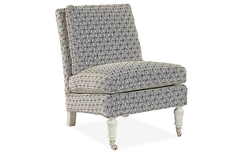 Lewiston Slipper Chair, Cobalt/Ivory