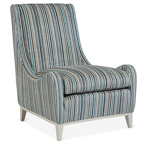 Pierre Armless Accent Chair, Cerulean Stripe