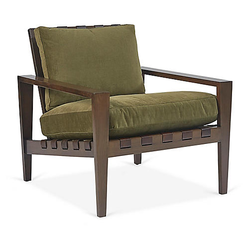 Mathew Accent Chair, Olive Velvet