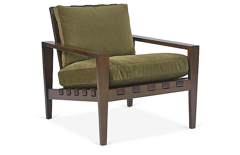 Mathew Accent Chair, Olive Velvet