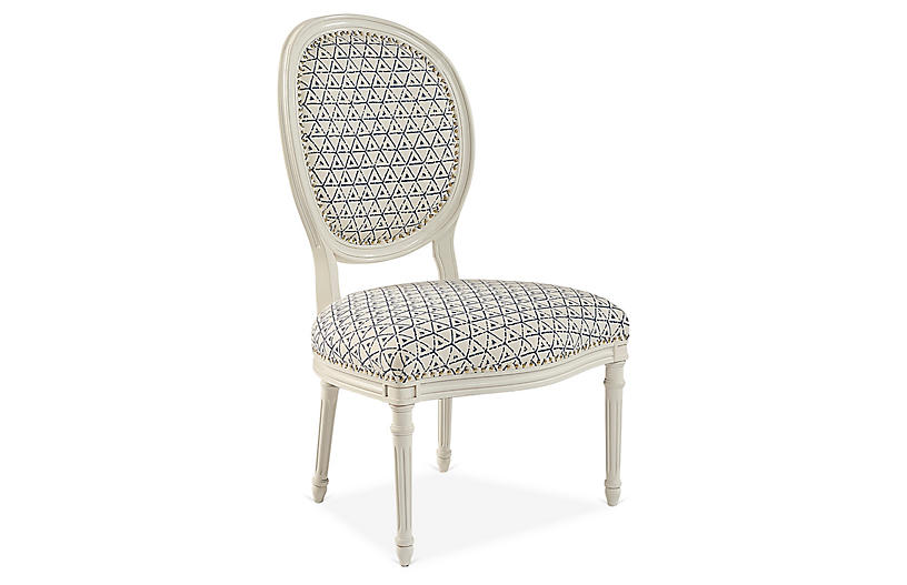Beckmore Side Chair, Navy/Natural
