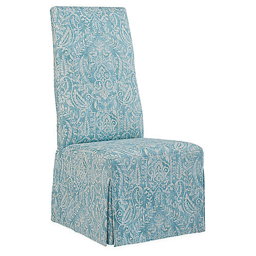Royale Side Chair, Aqua/Ivory Linen