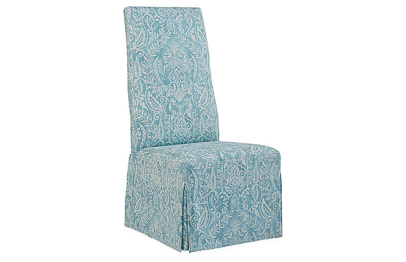 Royale Side Chair, Aqua/Ivory Linen