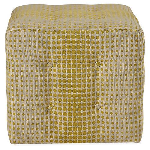 Kelton Cube Ottoman, Citron/Natural
