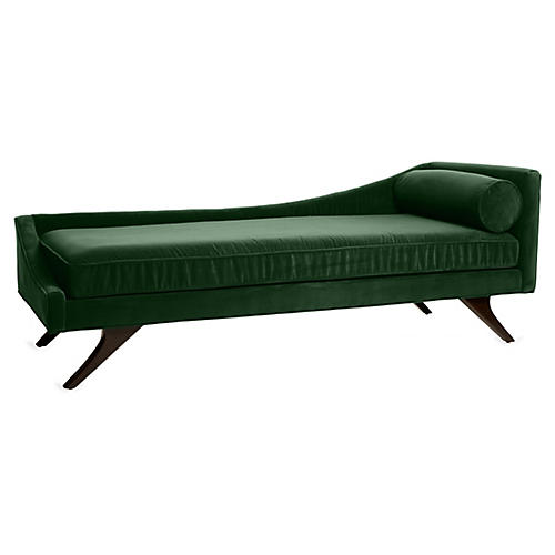 Sansa Left-Arm Chaise, Emerald Velvet