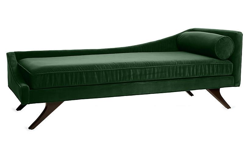 Sansa Left-Arm Chaise, Emerald Velvet