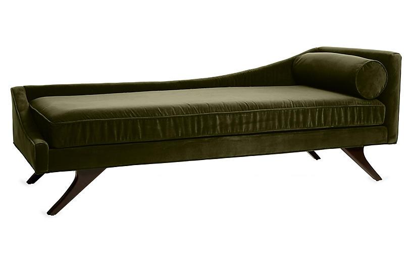 Sansa Left-Arm Chaise, Moss Velvet