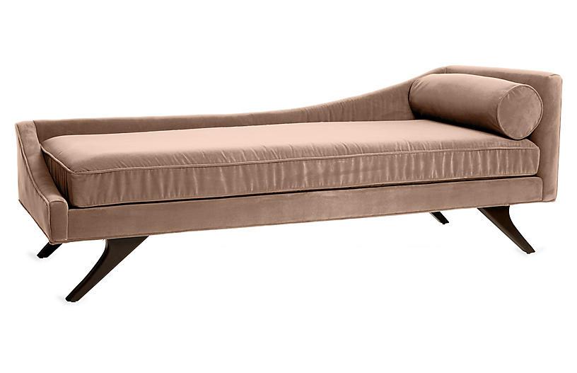 Sansa Left-Arm Chaise, Blush Velvet