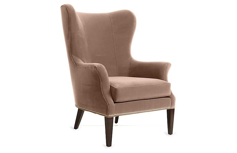 Tristen Wingback Chair, Blush Velvet