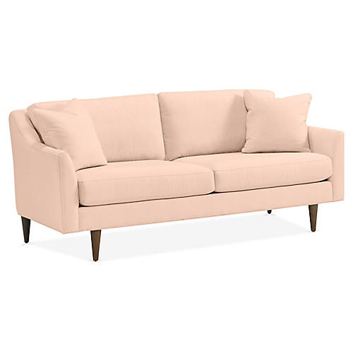 Hannah Sofa, Light Pink Velvet