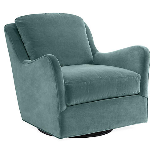 Savannah Swivel Glider Chair, Ocean Velvet