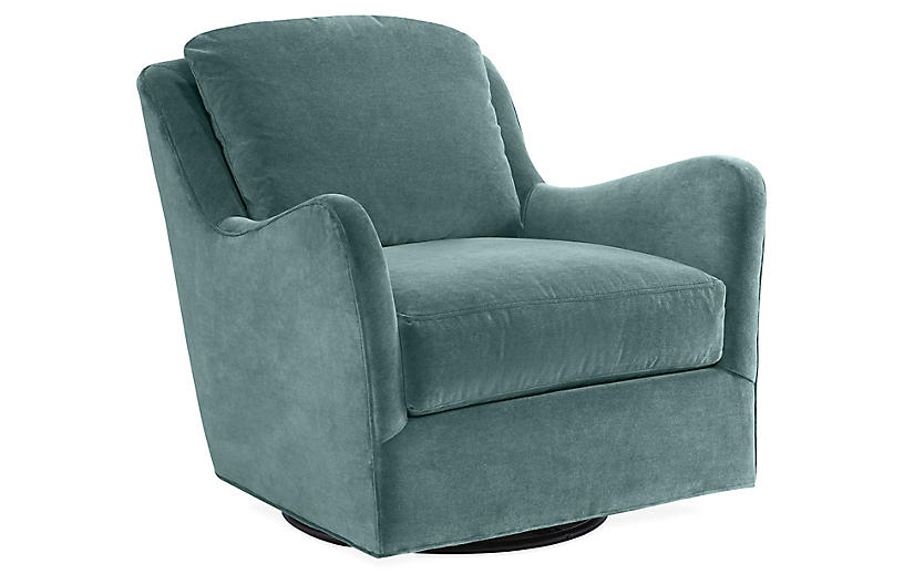 Savannah Swivel Club Chair, Ocean Velvet