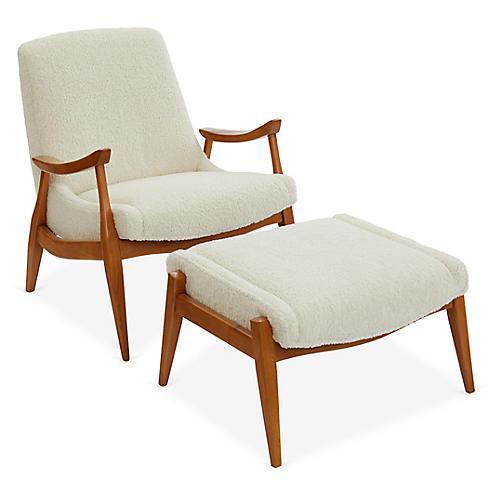 Kayla Accent Chair & Ottoman Set, Ivory