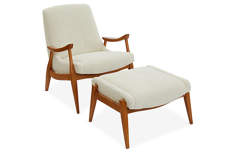 Kayla Accent Chair & Ottoman Set, Ivory
