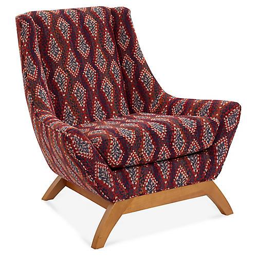 Jasper Accent Chair, Red/Multi Diamond