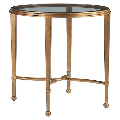 Sangiovese Round Side Table, Renaissance Gold