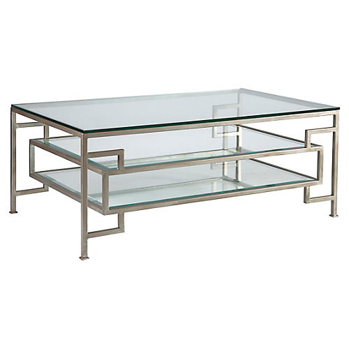Suspension Coffee Table, Argento Silver