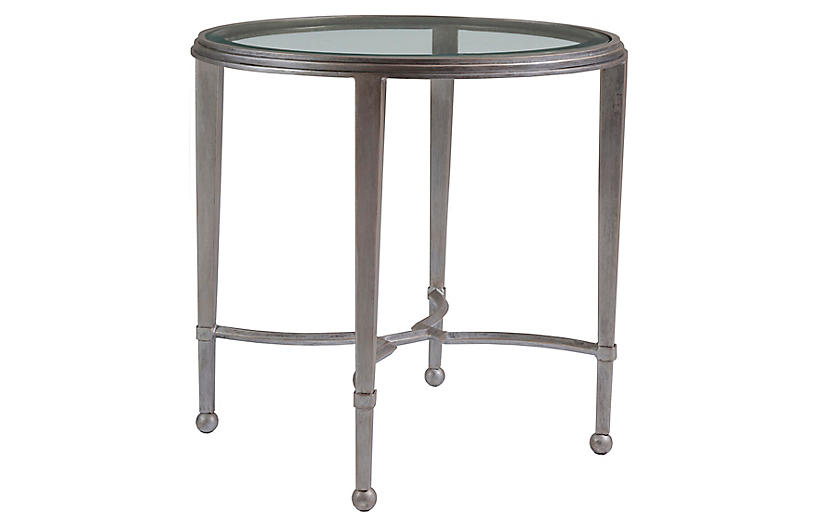 Sangiovese Round Side Table, Argento Silver
