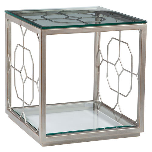 Honeycomb Side Table, Argento