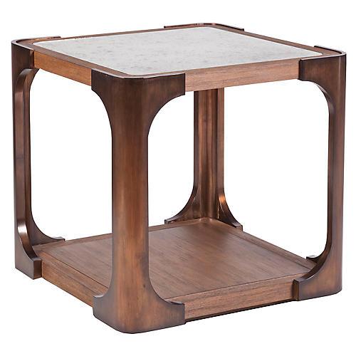 Tuco Side Table, Mahogany/Brass