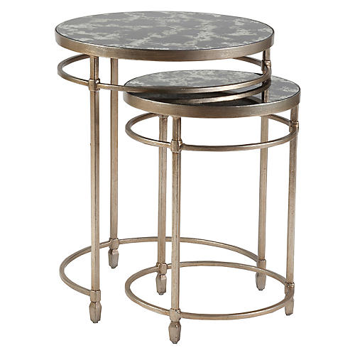 Asst. of 2 Colette Nesting Tables, Champagne