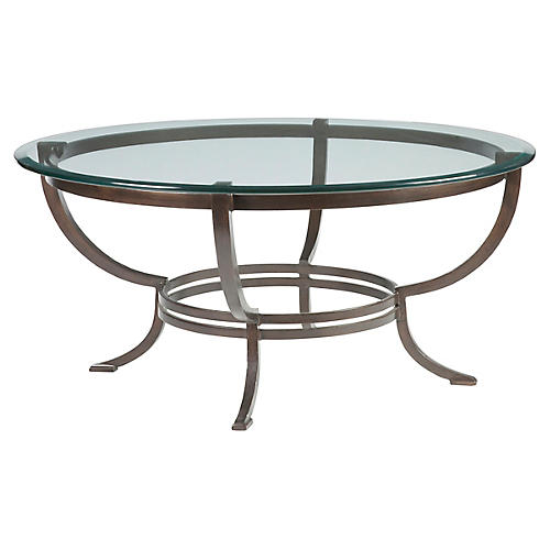 Andress Coffee Table, Antiqued Copper
