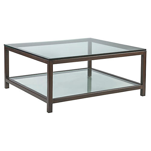 Per Se Square Coffee Table, Antiqued Copper