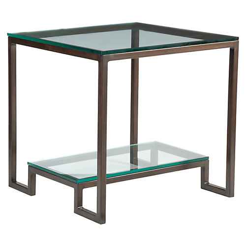 Bonaire Side Table, Antiqued Copper