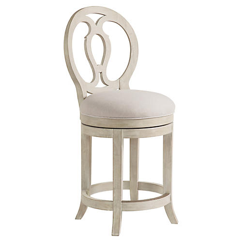 Axiom Swivel Counter Stool, Bianco White