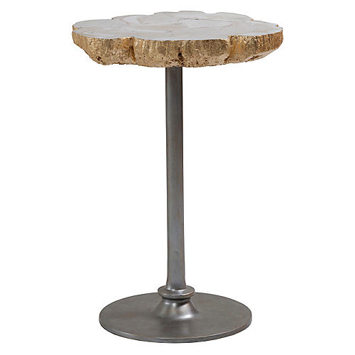 Gregory Side Table, White/Gold Leaf