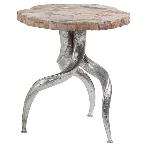 Peck Side Table, Ivory/Multi