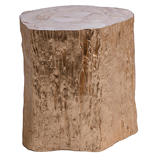 Trunk Segment Side Table, Gold Leaf