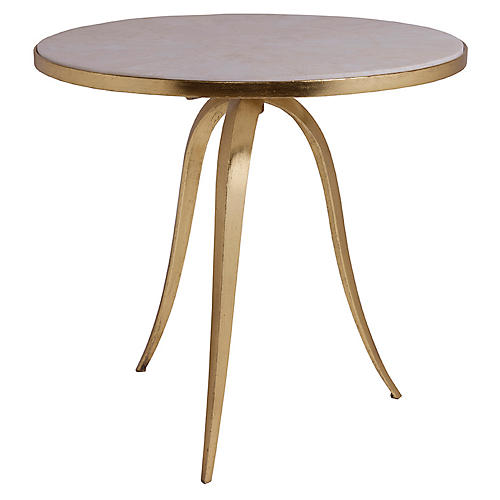 Crystal Stone Round Side Table, White/Gold