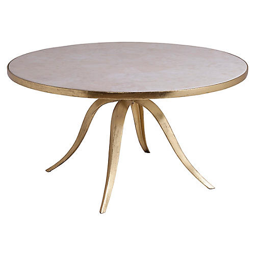 Crystal Stone Round Coffee Table, White/Gold