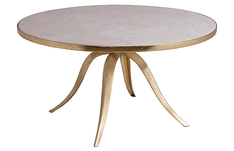 Crystal Stone Coffee Table, White/Gold