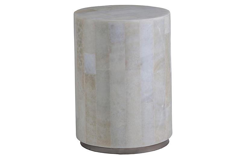 Greta Spot Side Table, White Onyx