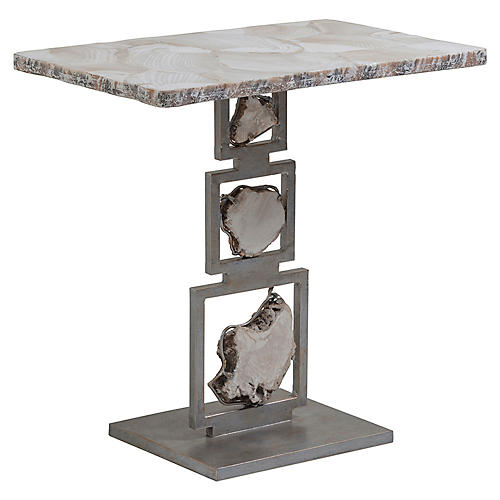 Frick Side Table, Antiqued Iron/White
