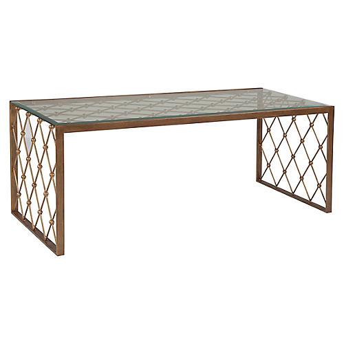 Royere Rectangular Coffee Table, Renaissance Gold
