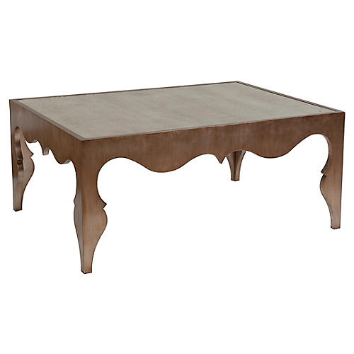 Van Cleef Coffee Table, Silver Leaf