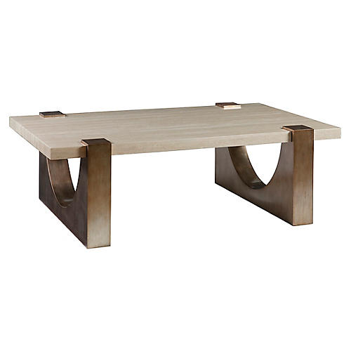 Impresario Coffee Table, Silver Leaf