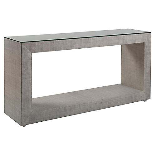 Precept Raffia Console, Light Gray