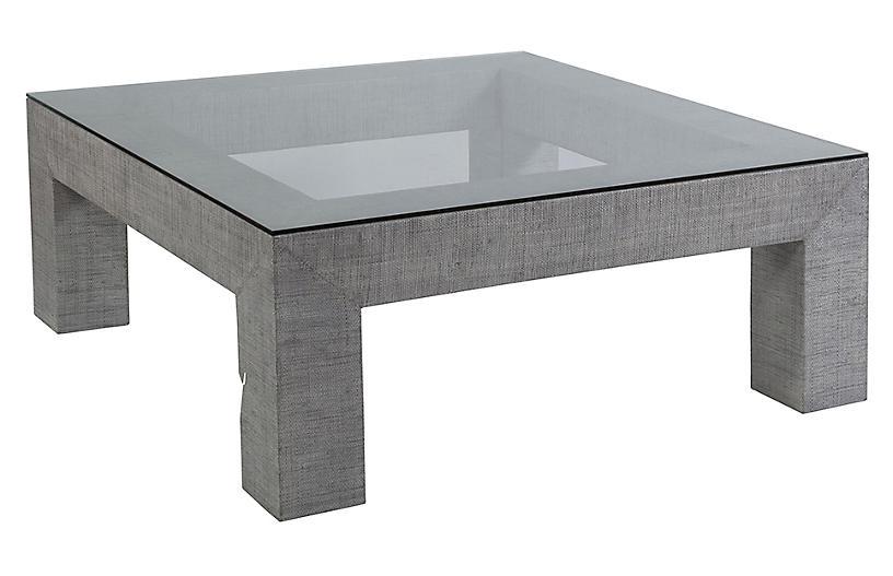 Precept Square Raffia Coffee Table, Light Gray