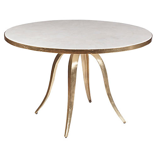 Crystal Stone Dining Table, Gold Foil