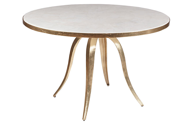 Crystal Stone Dining Table, White/Gold