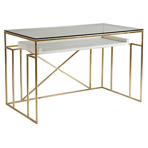 Cumulus Writing Desk, White/Gold Foil