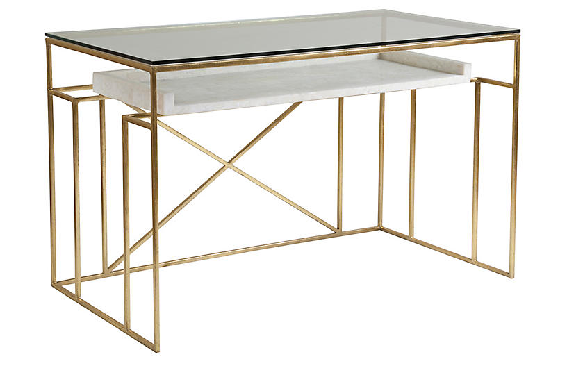 Cumulus Writing Desk, White/Gold