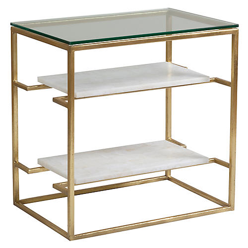 Cumulus Side Table, White/Gold Foil
