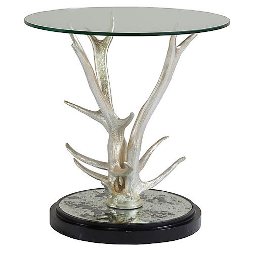 Teton Side Table, Silver Leaf