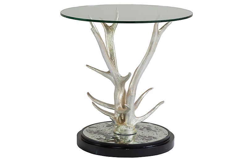 Teton Side Table Silver Leaf